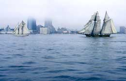 Tall ships in the fog, 2005 (analog photo)