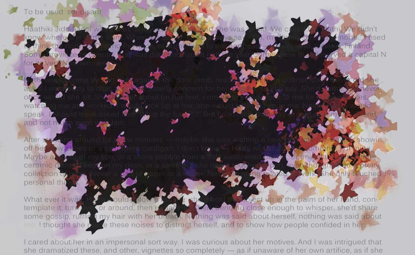 Silk jacket leaves and words (digital composition, PS),