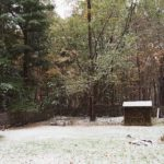 First snow, Woodstock, deck, yard, woods
